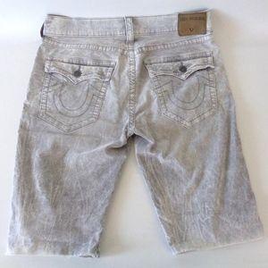 True Religion Ricky Cutoff Shorts Sz 34 Acid Wash